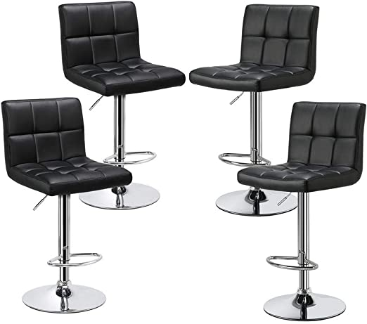 Amazon Com Yaheetech Bar Stools Set Of 4 Modern Adjustable