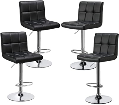 Amazon Com Yaheetech Bar Stools Set Of 4 Modern Adjustable Kitchen Island Chairs Counter Height Barstools Swivel Pu Leather Chair Black 30 Inches X Large Base And Seat Furniture Decor