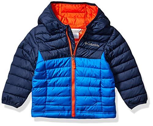 Columbia Boy's Powder Lite Hooded Winter Jacket, Water repellent, 2T, Super Blue, Collegiate Navy
