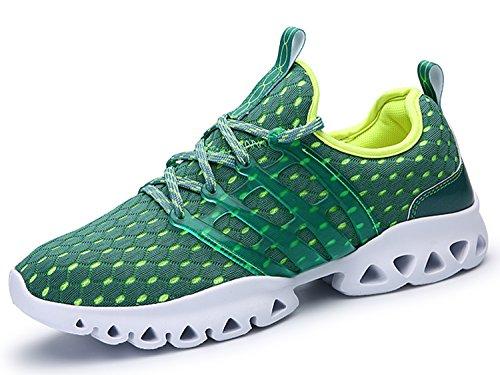 IIIIS-R Botas Zapatillas de deporte Zapatos deportivos de los planos Deslizamiento-en los zapatos suaves de la plataforma del verano respirable de las solamente Verde