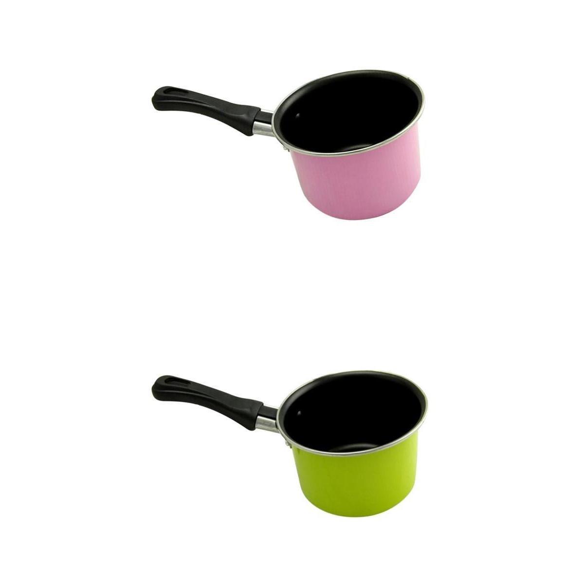 MagiDeal 2 Piece Mini Metal Saucepan Milk Warming Pot Induction Cooking Pot Small Pan
