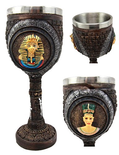 Atlantic Collectibles Pharaoh King Tut & Queen Nefertiti Wine Goblet Chalice 6oz With Stainless Steel Liner Ancient Egyptian Royalty Gods In Human Form ()