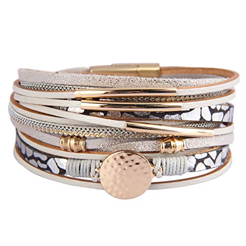 AZORA Leather Wrap Bracelets for Women Goldplated Metal Crescent Cuff Bracelet with Magnetic Buckle Casual Bohemian Wrist Bangle Jewelry Gift for Ladies Teen Girls Sister Mum ()