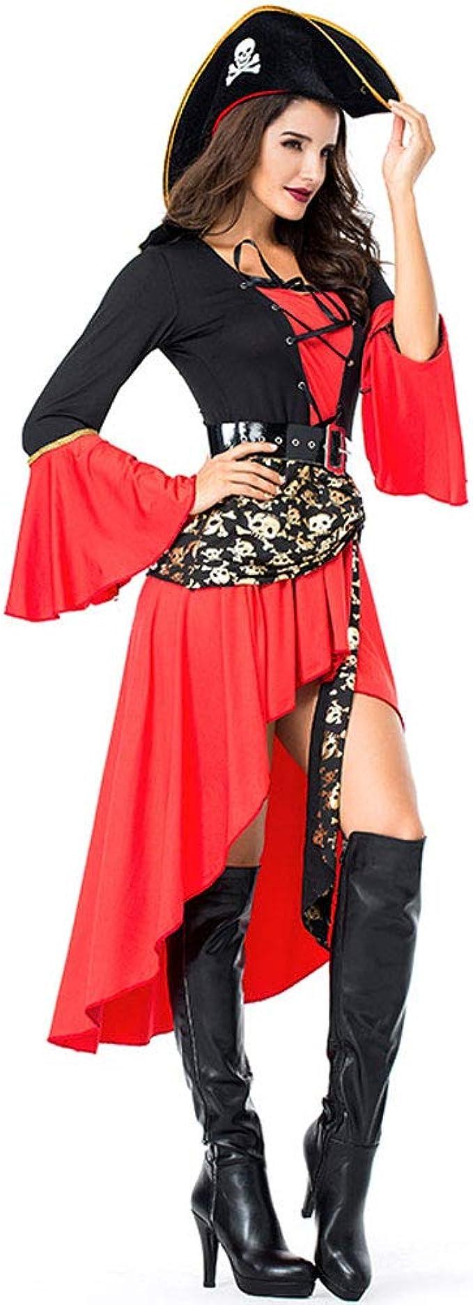 Acoo Lady Halloween Vestido Rojo Falda Cosplay Pirata Vestido ...