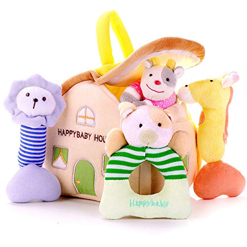 - iPlay, iLearn 4 Plush Baby Soft Rattles Set, Developmental Toy w/ Hand Grip, Natural Cotton Teether and Shaker, Cute Stuffed Animals w/ Sounds for 3, 6, 9, 10, 12 Month, Newborn, Infant, Boy, Girl