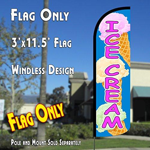 ICE CREAM  Windless Polyknit Feather Flag
