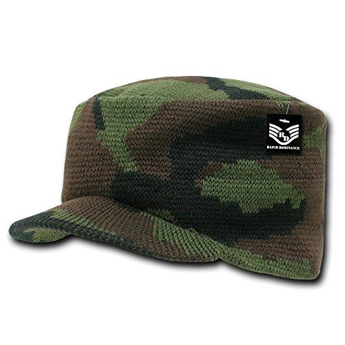 Camo Military Jeep Flat Top Knit Caps - (Acrylic Jeep Cap)