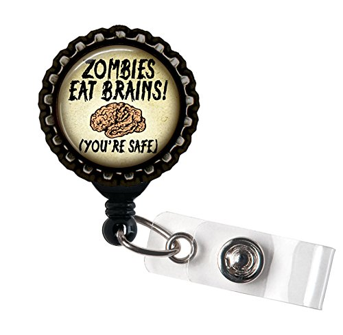 Zombies Eat Brains! (You're Safe) Black Retractable Badge Reel ID Tag Holder by Geek Badges ()