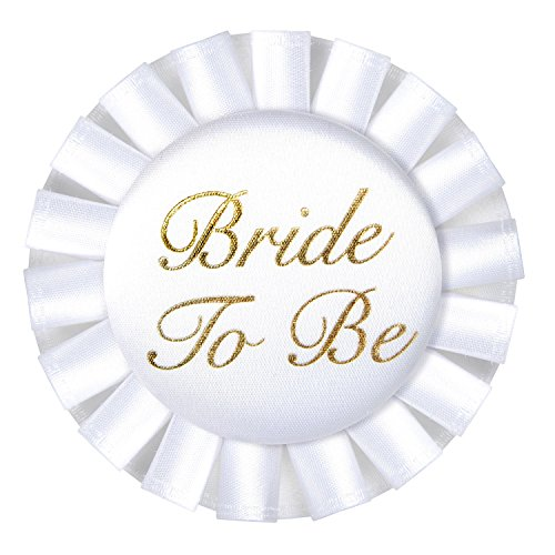 Bachelorette Button (Bride To Be Satin Button Party Accessory | White | 3.5-Inch | (1-Count))