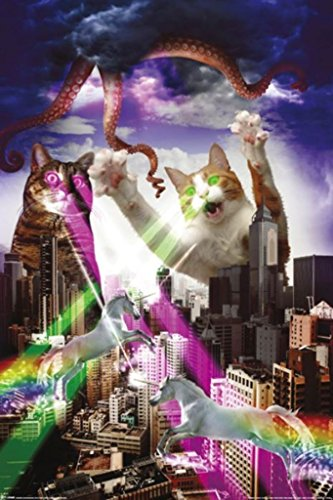 Pyramid America Apocalypse Meow Laser Cats Funny Poster 24x36 inch
