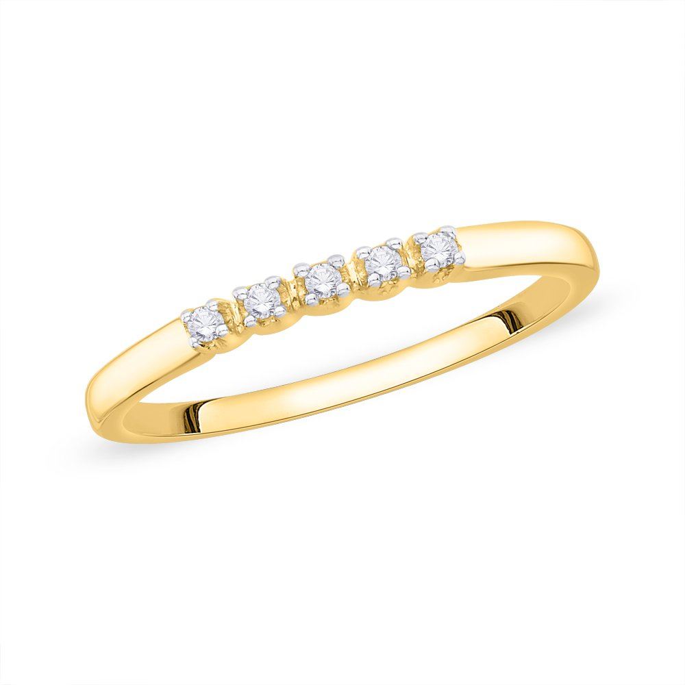 Size-10 Diamond Wedding Band in 14K Yellow Gold 1//20 cttw, G-H,I2-I3