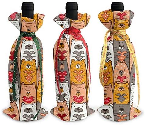ワインバッグ クリスマスボトルカバー くま 色 柄 シャンパンワインボトル3本用 12 X 34cm ワイン収納 3個ーテーマ ボトル装飾 ワインボトル用 かわいいドレス 3種類のデザイン ギフトバッグ 保管用 ギフトパッケージ