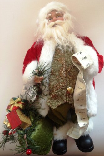 and a bag of presents Santa with list