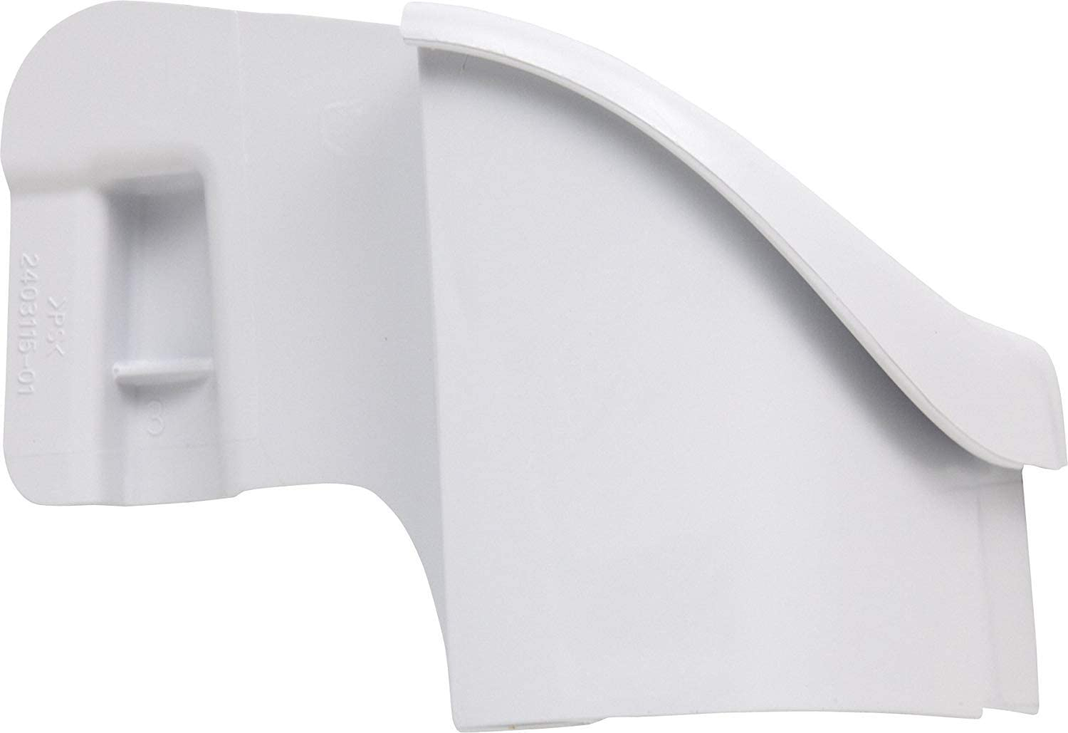 240311501 Refrigerator Door Shelf End Cap, Left Hand, White. Replacement for Frigidaire, Electrolux, Kenmore