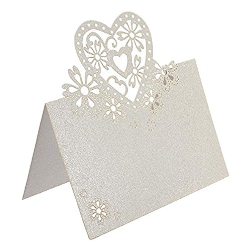 BinaryABC Place Cards,Table Name Cards Name Tags for Wedding ,Love Heart Design 50Pcs