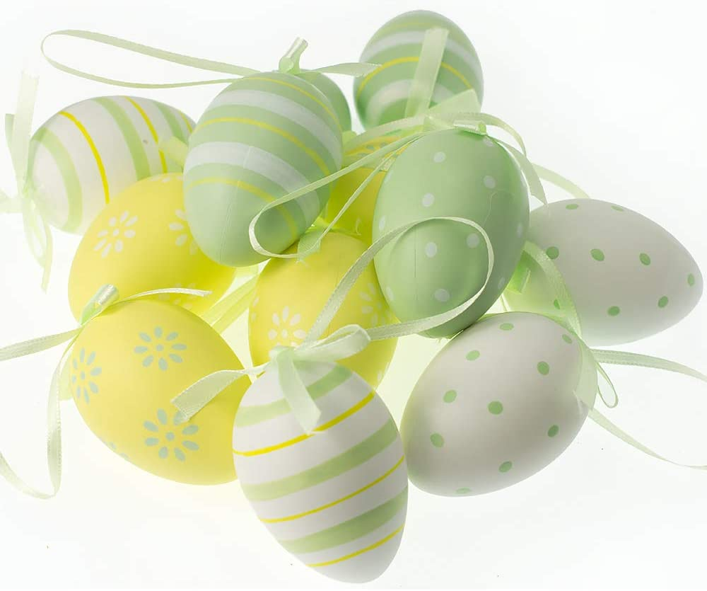 12 Standard Pastel Colour Hanging Eggs for Easter Tree Decoration