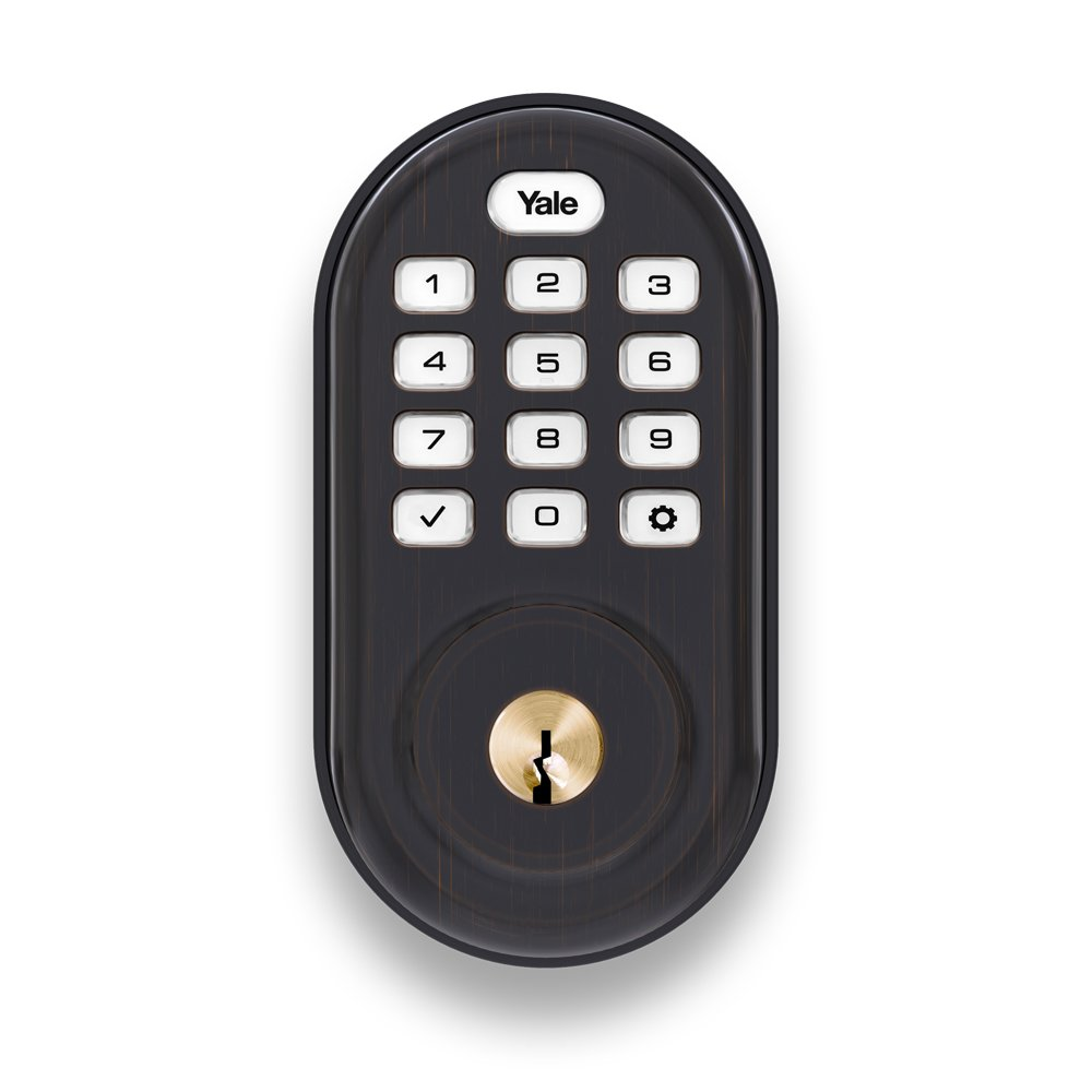Yale Security Lock Push Button Deadbolt with Zigbee (YRD216) - Oil Rubbed Bronze