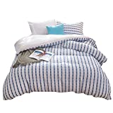 Merryfeel Seersucker 100% cotton yarn dyed Duvet Cover Set - Full/Queen Navy
