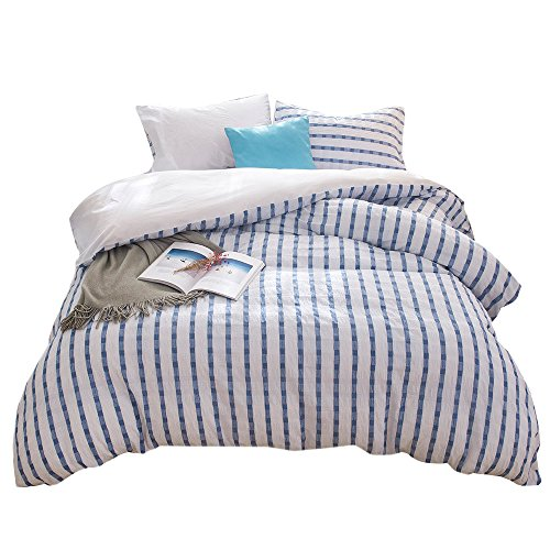 Merryfeel Seersucker 100% Cotton Yarn Dyed Duvet Cover Set - Full/Queen Navy -