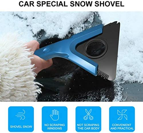 車用雪かき スノーブラシ アイススクレーパー スノースクレーパー 車 ボディ フロントガラス 雪落とし スコップ 車用雪かき 雪対策品 (ブルー)