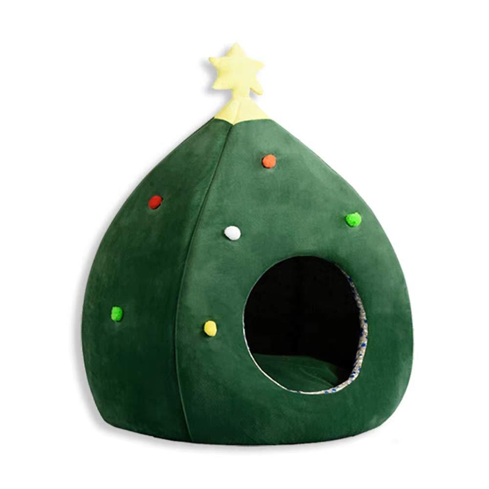 Green Cute Christmas Pet Winter Cat Litter Kitten Nest Supplies Closed Kennel Winter Warm (color   Green)