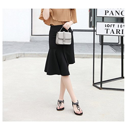 Lady Pantoufles Noir Summer Sandales Lady Sexy Femmes Slip Fashion Sandales Plat Mode Bohème Clips Intérieur XIAOQI Doux Strass Doux 1HwE4qwx