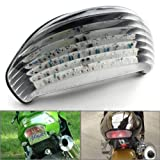 Motorcycle Racing Parts 120 LED Waterproof Integrated Brake Turn Signal Taillight Tail Light Rear Blinker Fit For 2000 2001 2002 2003 2004 2005 Kawasaki ZX-12R Clear JDM Style