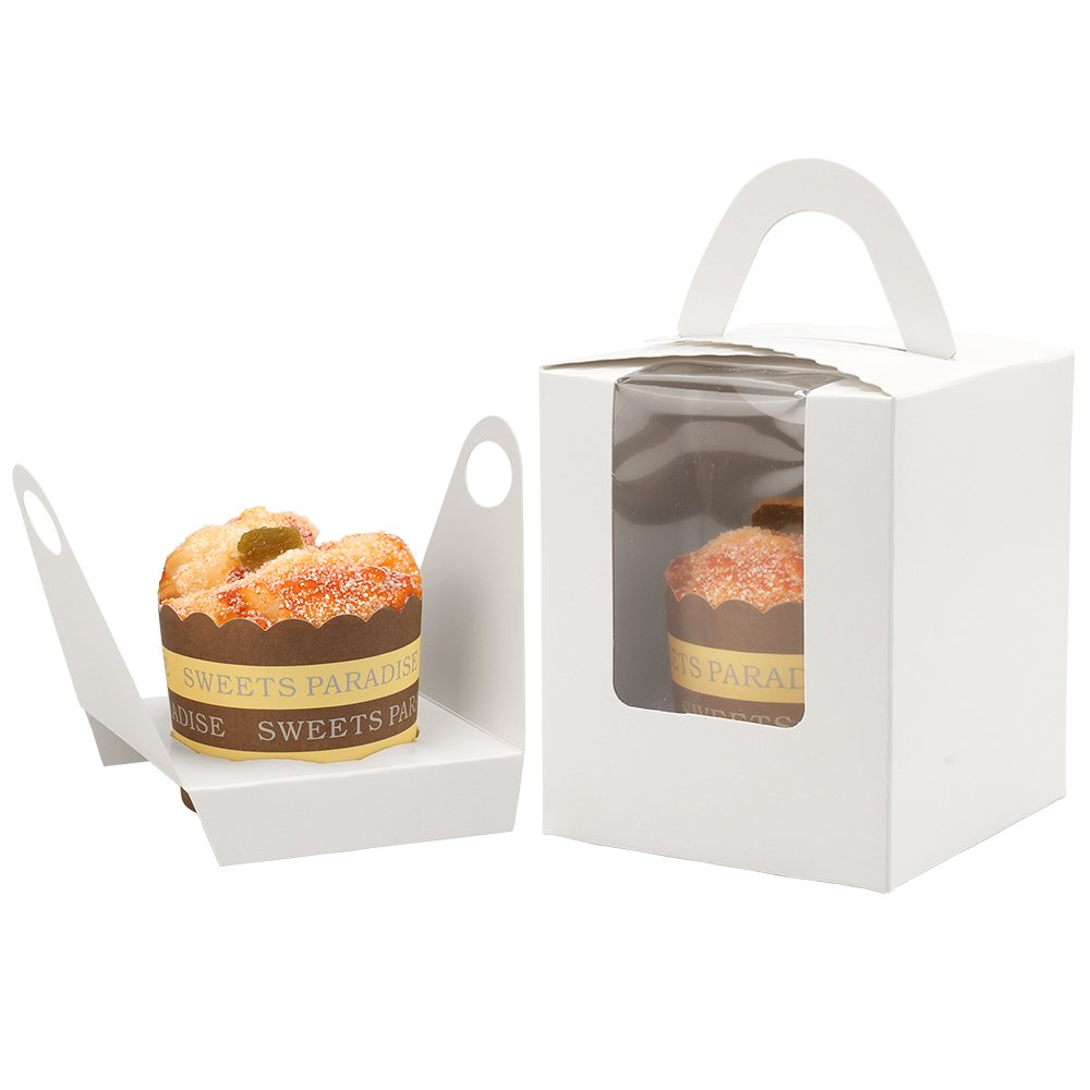 Kirakira Single Cupcake Boxes 50 Pack Inserts Bakery Cupcake Boxes Window Handle Muffins Cupcake Carriers Cupcake Containers Holders-White