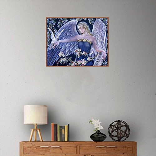 Cyhulu 5D Full Diamond Painting, Fancy Beautiful 5D Embroidery Paintings Rhinestone Pasted DIY Canvas Painting Cross Stitch, Angel by Cyhulu (Image #3)