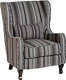 Seconique Sherborne Fireside Chair, Fabric Grey Stripe, 77x91x102 cm