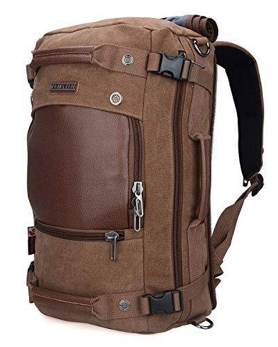 - WITZMAN Men Travel Backpack Canvas Rucksack Vintage Duffel Bag A2020 (Brown)