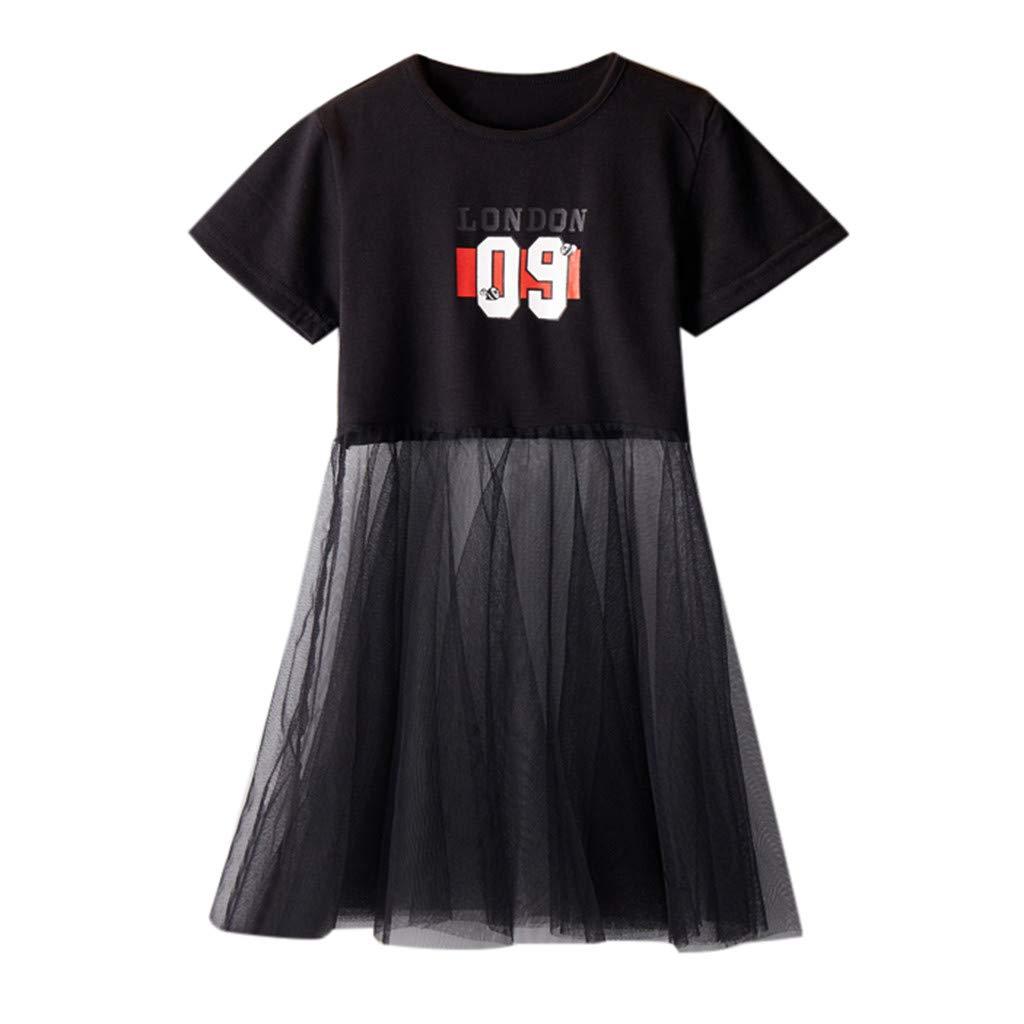 Dinlong Summer Toddler Kids Baby Girls Clothes Letter Print Short Sleeve T-Shirt Splicing Mesh Tulle Dress Princess Skirt (Black, 2-3 Years)