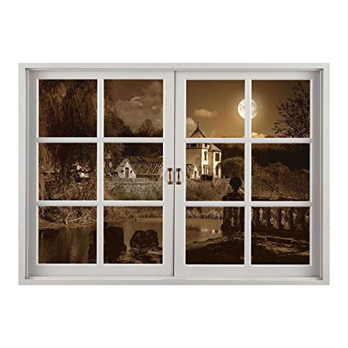 Wall Sticker/Gothic Decor,Photo of Old Ancient Medieval Myst House in Retro Vintage Color at Full Moon Luna Boho Style,Brown/Wall Sticker Mural ()