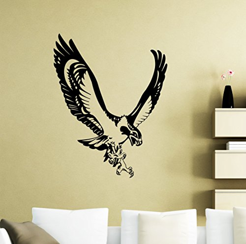 Seahawk Wall Decal Sea Hawk Fish Eagle Osprey Vinyl Sticker Home Animal Bird Nursery Room Interior Art Decoration Kids Girl Room Mural Waterproof High Quality Vinyl Sticker (Hawks Rock Animal)