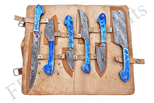 Custom Made Damascus Steel Kitchen Knife 6-Pcs Set FBK-1011, 1021, 1040, 1071, 1083, 1084 and 1085 (Blue & White Resin)