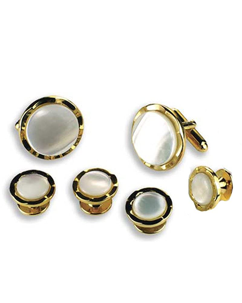 EZ Tuxedo Round Mother of Pearl with Diamond Cuts Cufflinks and Studs