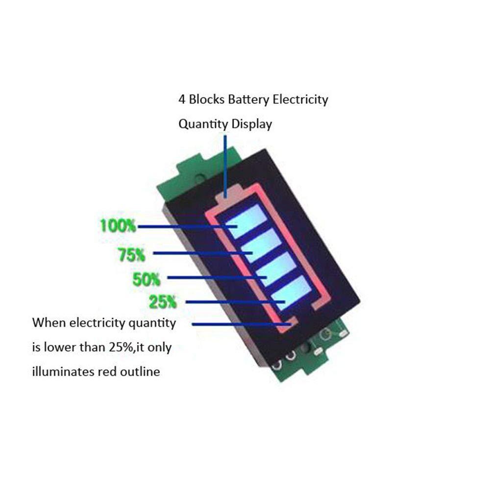 DAOKI 2Pcs 1S 4.2V Battery Capacity Indicator Module Lithium Lipo Battery Capacity Tester Li-Ion Module 4 Sections Blue LED Display Electric Vehicle