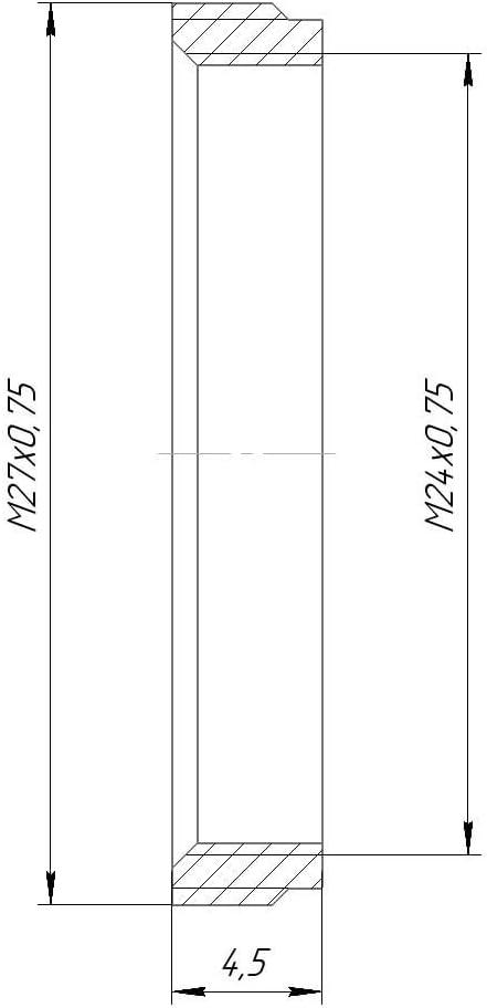 flangeless Black M27x0.75 Male to M24x0.75 Female Thread Adapter