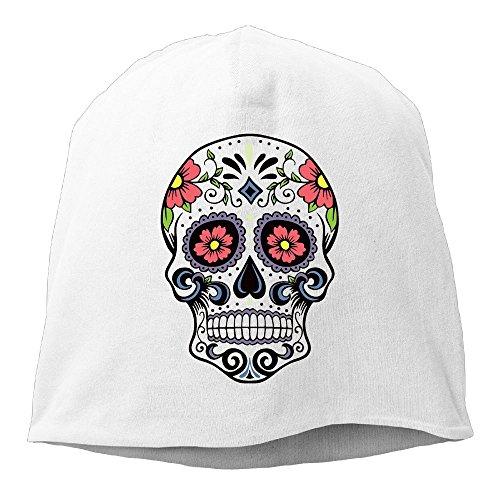 Halloween Sugar Skull Colorful Hedging Knitted Hat Slouchy (Skull Halloween Makeup Tutorial)
