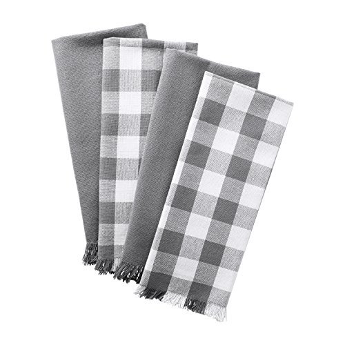 (DII Woven Heavyweight Cotton Dish Towels with Decorative Fringe, Absorbent Dishtowels for Drying and Cleaning Kitchen Dishes or Countertops (18x28
