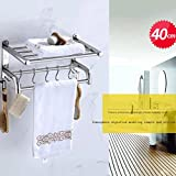 YXN 304 stainless steel thickened base towel bar towel rack bathroom shelf bathroom hardware accessories (Size : 40cm)