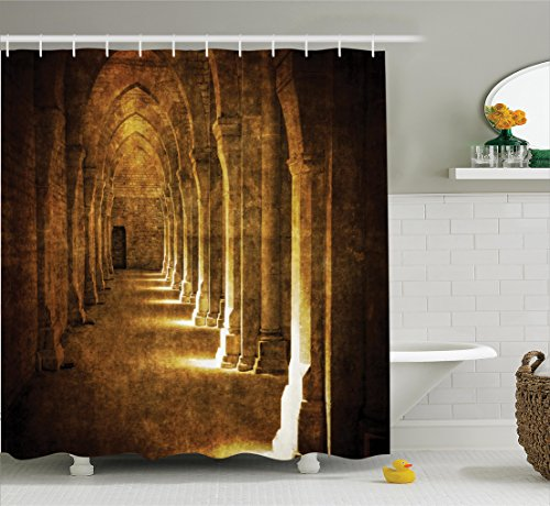 Ambesonne Apartment Decor Collection, Abbaye De Fontenay Archway Hall Vintage Cathedral Church Historical Architecture, Polyester Fabric Bathroom Shower Curtain, 84 Inches Extra Long, Brown Gold