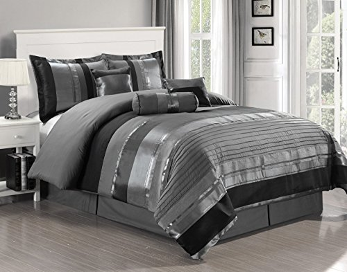 California Comforter Chenille King - 7 Piece Oversize Grey / Black silver stripe Chenille Comforter set 106
