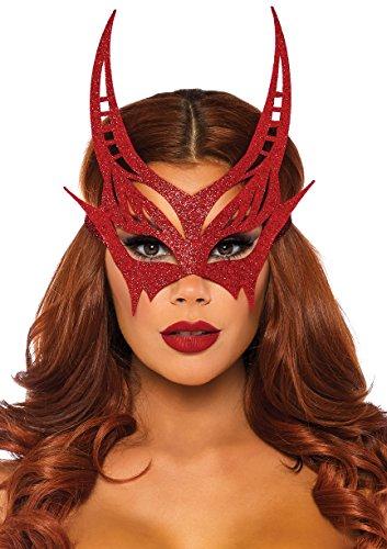 Leg Avenue Women's Glitter Devil Mask, red, -