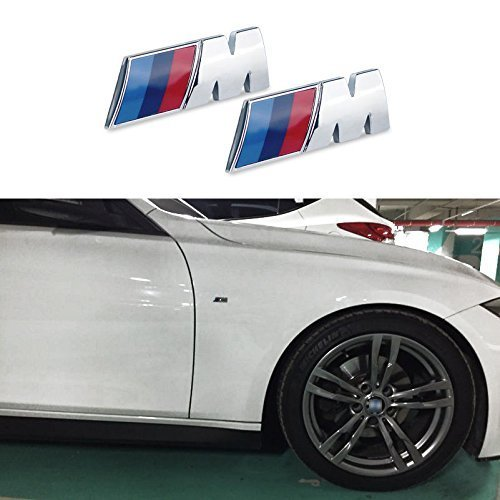 2 M Tri Color Fender Side Emblem LOGO Decal Badge Sticker Compatible With BMW