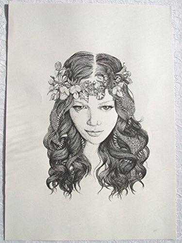 she - Original Pen on Paper Drawing (42 cm x 59.4 cm) by Ati's Original Art