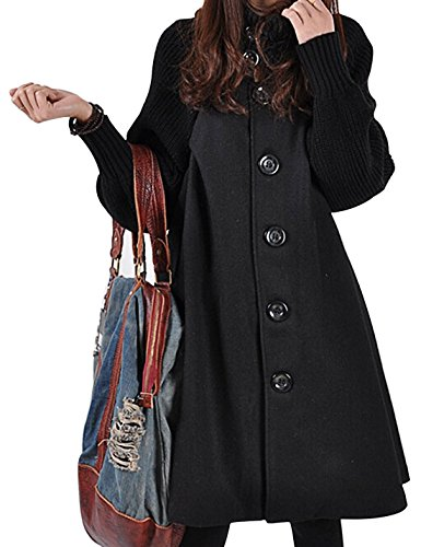 Gihuo Women's Mid Long Single Breasted Cowl Neck Loose Woolen Cloak Coat (One Size, Black)