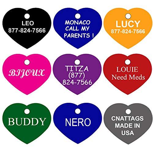 (CNATTAGS Dog Tags Pet Tags Personalized Premium Aluminum Heart (Purple, Regular))