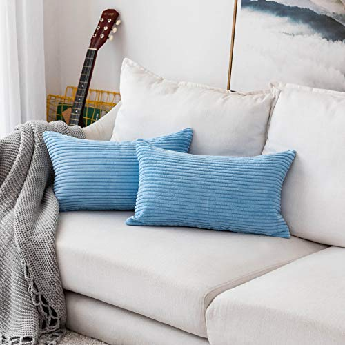 HOME BRILLIANT Decorative Striped Corduroy Rectangle Cushion Cover Oblong Pillow Cover for Couch, 12 x 20 Inches, 2 Pack, Baby Boy Blue