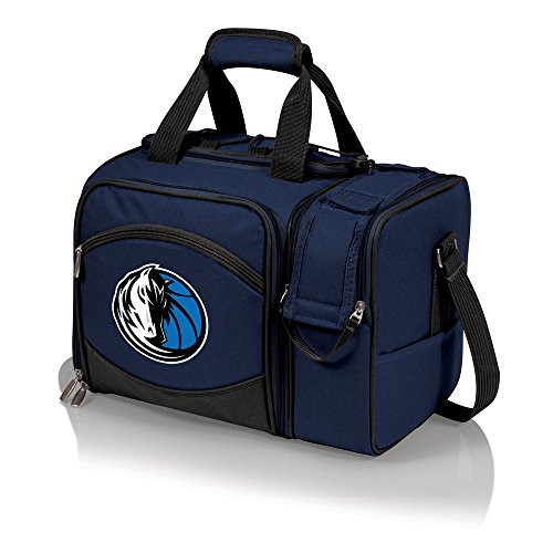 NBA Dallas Mavericks Malibu Insulated Shoulder Pack with Deluxe Picnic Service for Two by PICNIC TIME